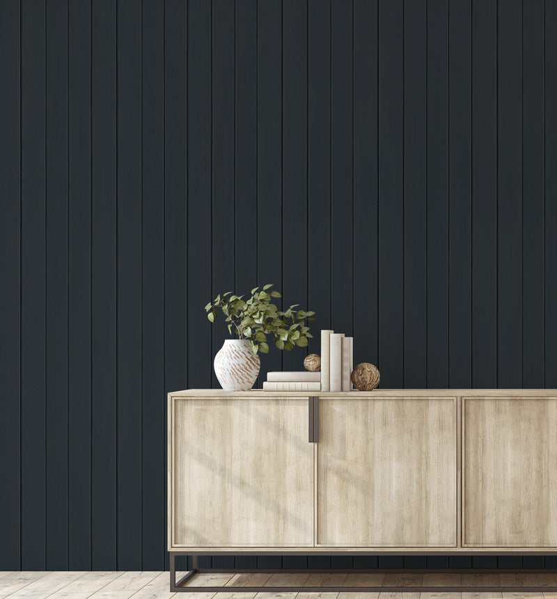 Tongue & Groove Wood Panel Wallpaper | Deep Charcoal - Olive et Oriel