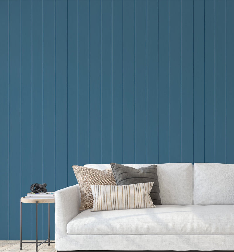 Tongue & Groove Wood Panel Wallpaper | Got the Blues - Olive et Oriel