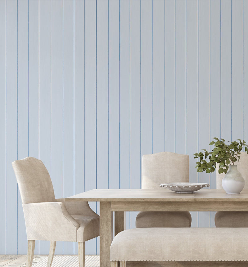 Tongue & Groove Wood Panel Wallpaper | Ice Blue - Olive et Oriel