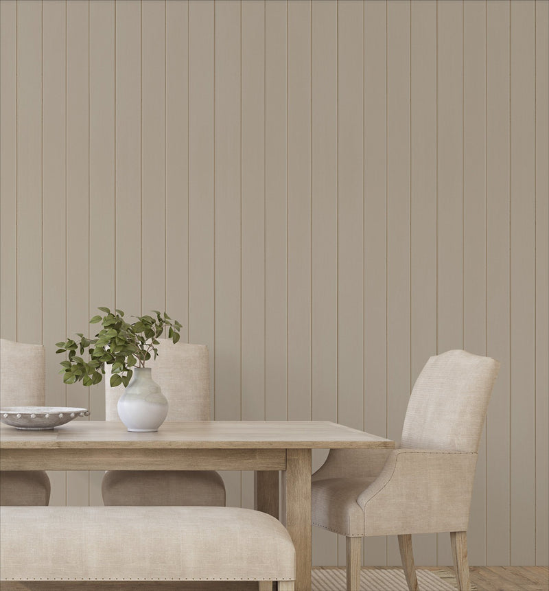 Tongue & Groove Wood Panel Wallpaper | Pebble - Olive et Oriel