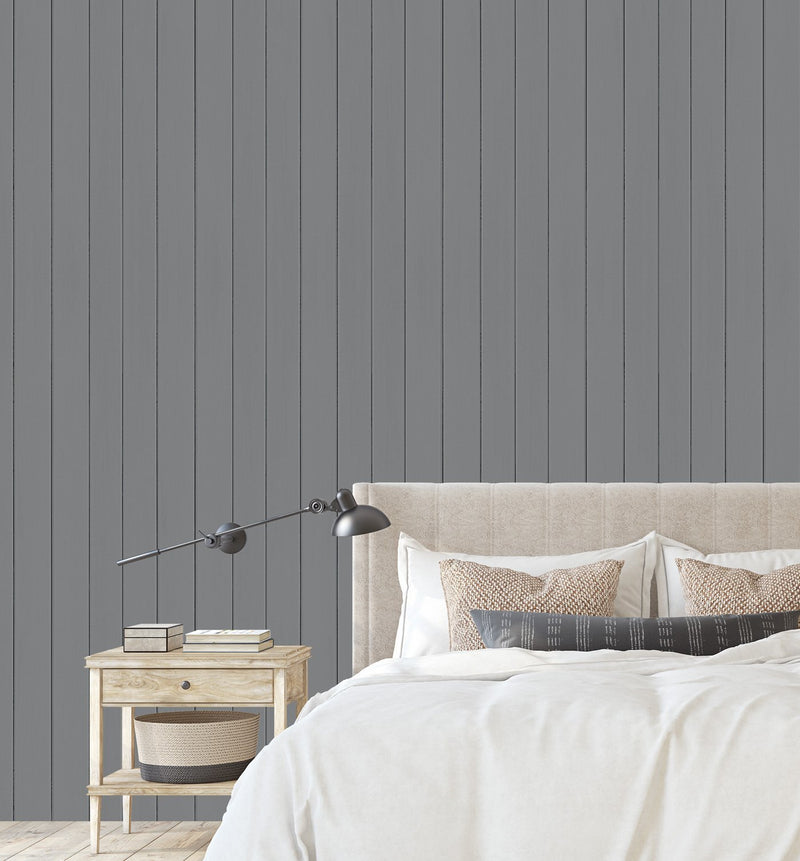 Tongue & Groove Wood Panel Wallpaper | Slate - Olive et Oriel