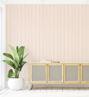 Tongue & Groove Wood Panel Wallpaper | Slightly Peach - Olive et Oriel
