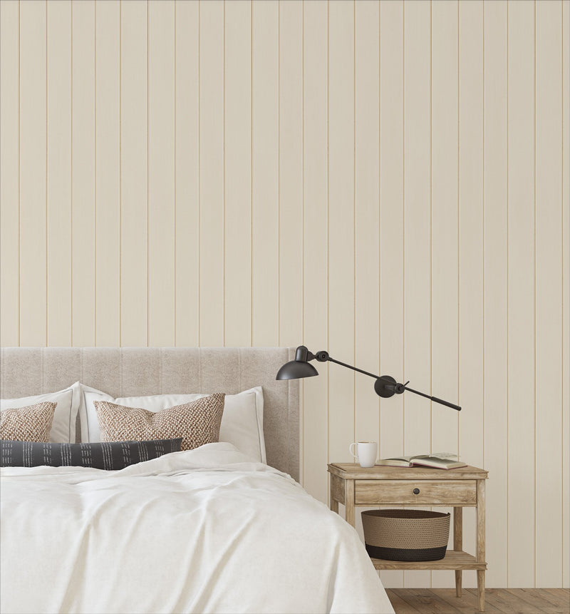 Tongue & Groove Wood Panel Wallpaper | Taupe - Olive et Oriel