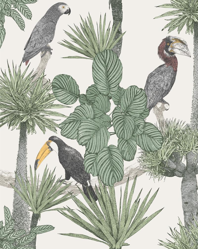 Vintage Jungle Wallpaper Mural - Olive et Oriel