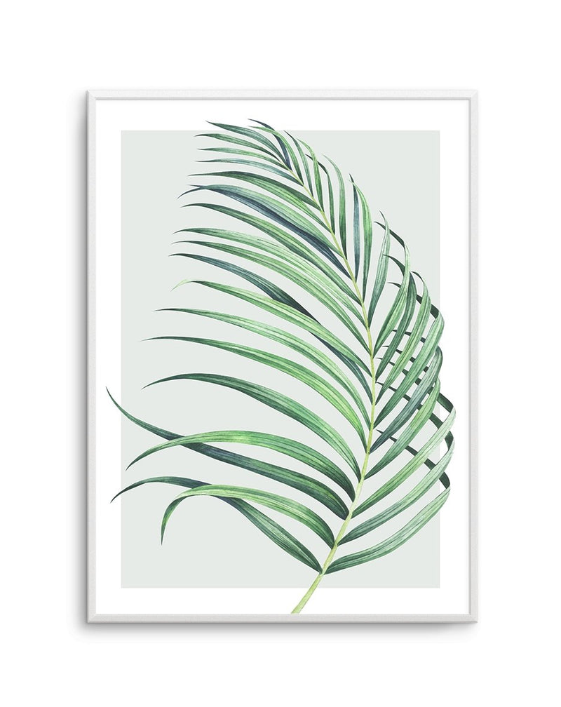 Watercolour Palm On Grey No 2 - Olive et Oriel | Shop Art Prints & Posters Online