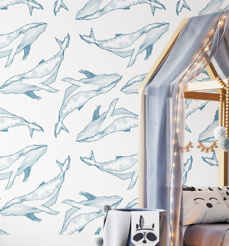 Whale Illustration | Navy on White Wallpaper - Olive et Oriel
