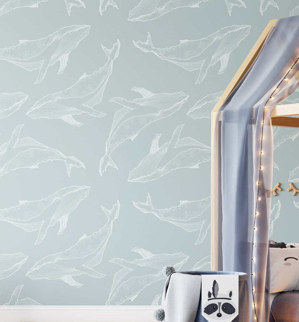 Whale Illustration | Seafoam Wallpaper - Olive et Oriel