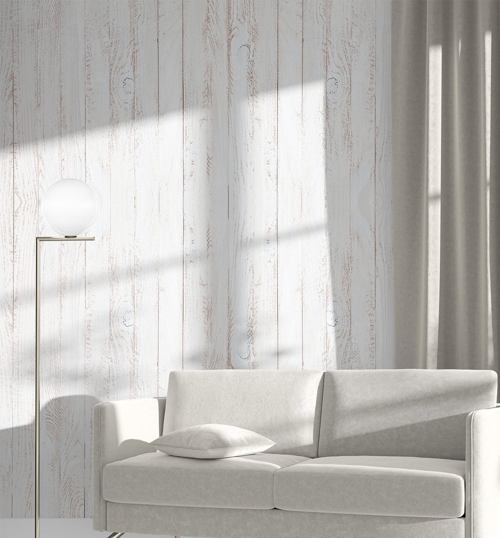 Whitewashed Wooden Panels Wallpaper - Olive et Oriel