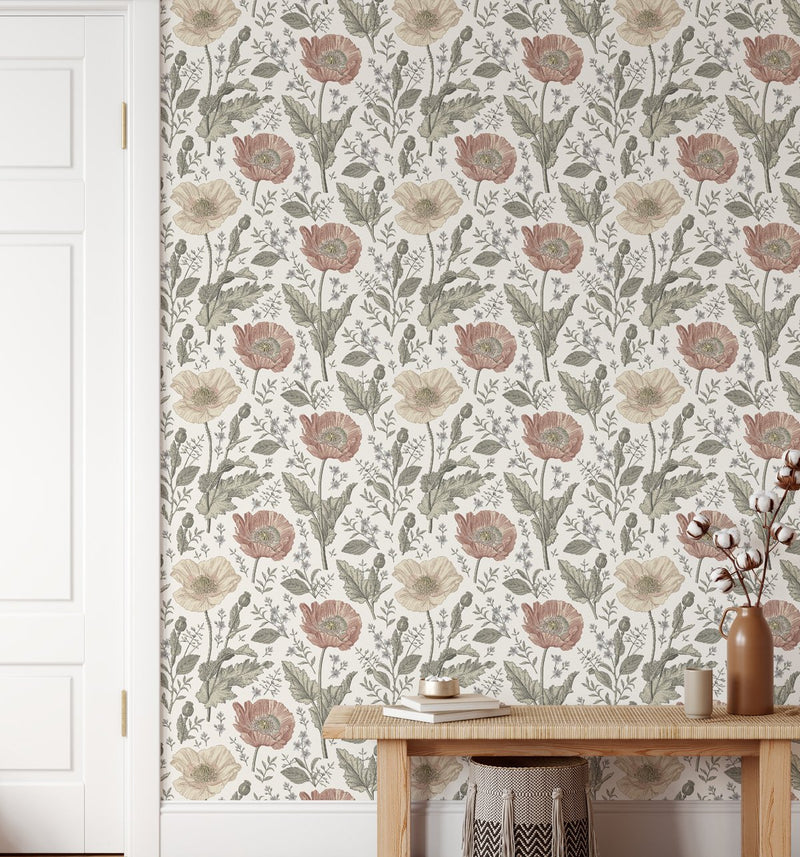 Wild Poppies Wallpaper - Olive et Oriel