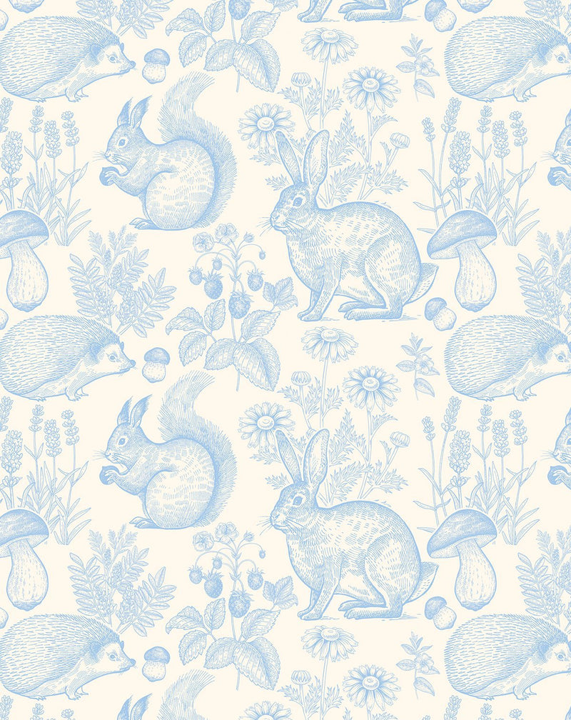 Woodland Folk Wallpaper - Sky Blue - Olive et Oriel