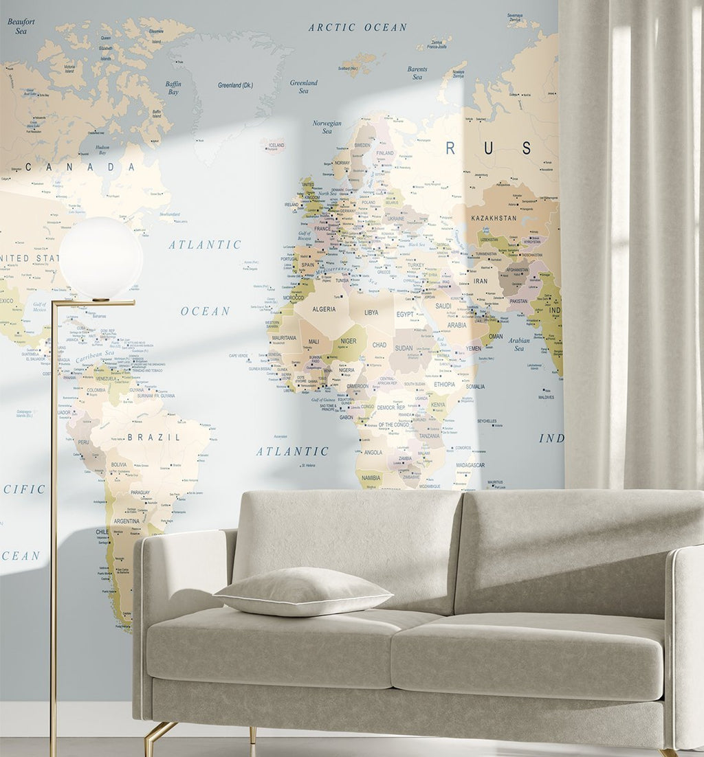 World Map I Wallpaper Mural - Olive et Oriel