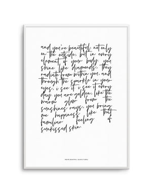 You're Beautiful Poem - Olive et Oriel | Shop Art Prints & Posters Online