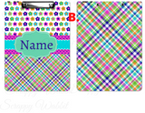 "Clipboard ""Plaid Flower"" Personalized"