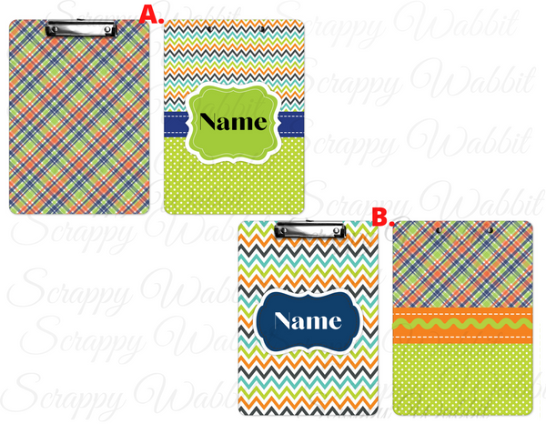 "Clipboard ""Plaid Chevron"" Personalized"
