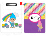 "Clipboard ""Trolls Painting"" Kids Personalized Clipboards,"