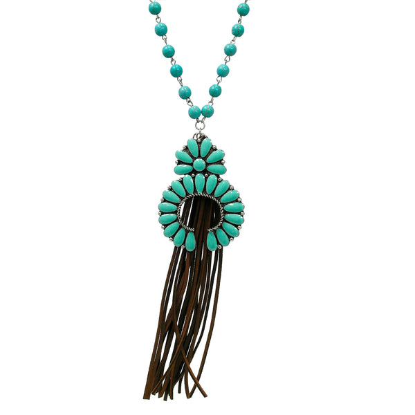 "Necklace ""Suede Tassel Turquoise Stone Necklace"""