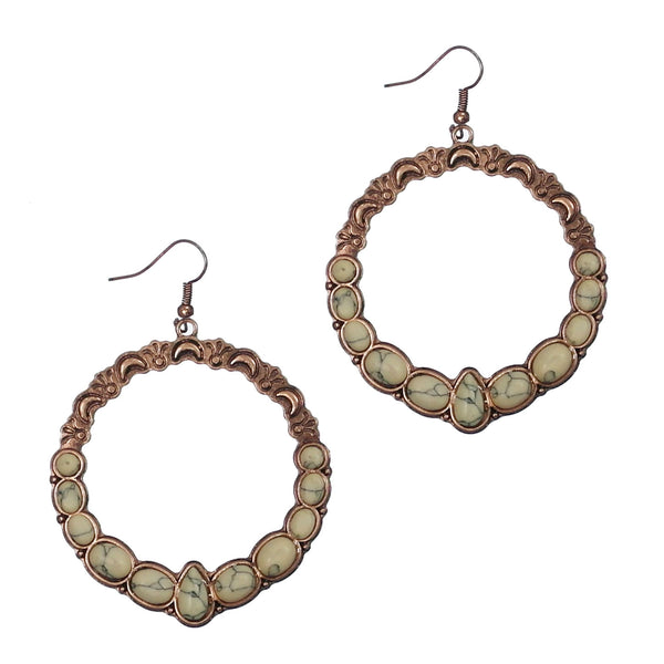"Earrings ""Circle w/ Semi Genuine Stone Earring"""