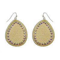 "Earrings ""Teardrop Leather w/ Rhinestones Metal Earring"""