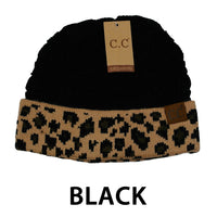 "Beanie"" Leopard Solid Color Cuff Beanie"""