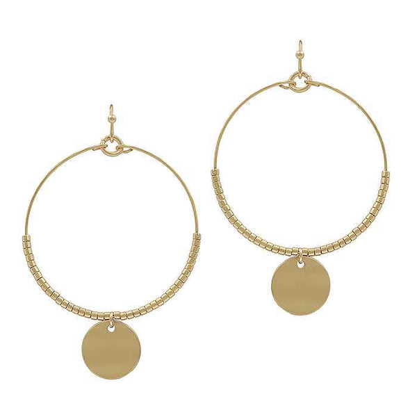 "Earrings ""Circle Wire, Beads, Circle Plate Earring"""