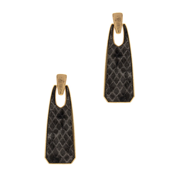 "Earrings ""Snake Skin, Metal Bar Shape PU Post"""