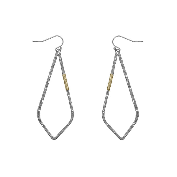 "Earrings ""Hammered Pointed Teardrop w/ Wire Wrapped"""