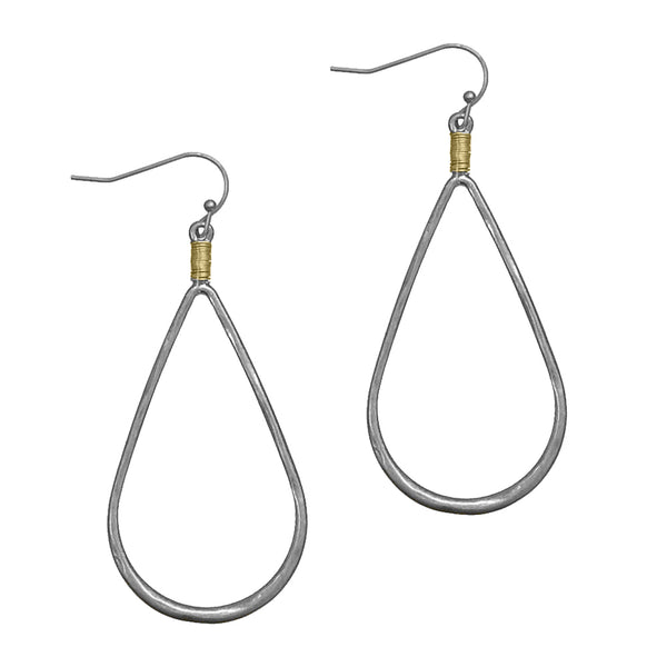 "Earrings ""Hammered Teardrop w/ Wire Wrapped"""
