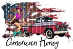 "T-Shirt ""American Honey"" Cowgirl Pinup"