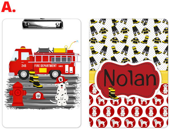 "Clipboard ""Firetruck"" Kids Personalized Clipboards,"