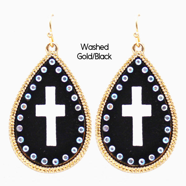 "Earrings ""Leather Metal Cross Cut out Earring"""