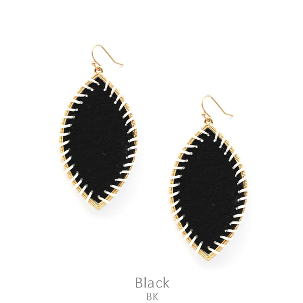 "Earrings ""Felt Fabric Black Oval Wired Earring"""