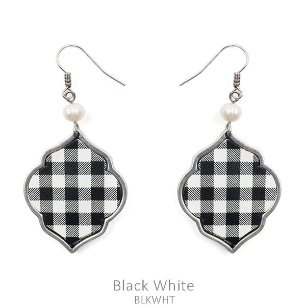 "Earrings ""Buffalo Plaid Metal Leather Earring"""