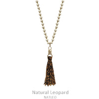 "Necklace ""Faux Leather Tassel Wood Bead Necklace"""