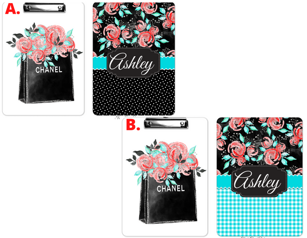 "Clipboard ""Flowers Chanel Bags"" Personalized"