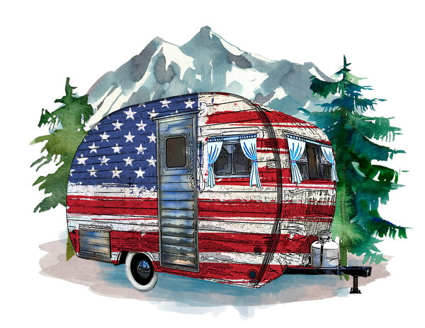 "T-Shirt ""Camper Red White & Blue"""