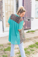 "Duster ""Leopard Turquoise Duster"" Short"