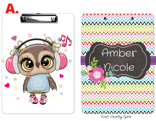 "Clipboard ""Owl Music"" Kids Personalized Clipboards,"