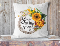 "Pillow Cover ""Grapevine Wreath Sunflowers"""