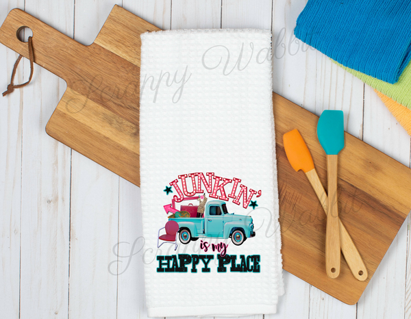 "Kitchen Towel ""Junkin Is My Happy Place"""