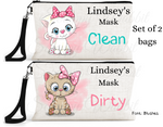 "Accessory/Essential Bag ""Catsl"" Clean, Dirty, Kids Mask Bags Set/2"