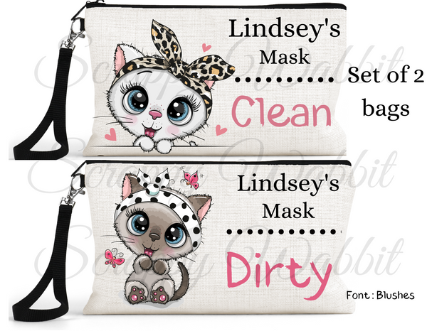 "Accessory/Essential Bag ""Cats"" Clean, Dirty, Kids Mask Bags Set/2"