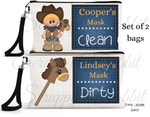 "Accessory/Essential Bag ""Cowboy"" Clean, Dirty, Kids Mask Bags Set/2"