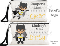 "Accessory/Essential Bag ""Super Heros"" Clean, Dirty, Kids Mask Bags Set/2"