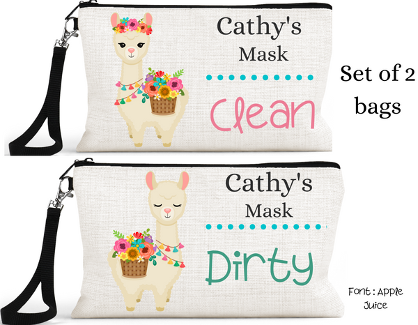 "Accessory/Essential Bag ""Llama Natural"" Clean, Dirty, Kids Mask Bags Set/2"