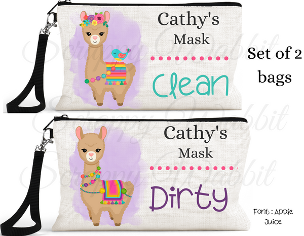 "Accessory/Essential Bag ""Llama Light Brown"" Clean, Dirty, Kids Mask Bags Set/2"