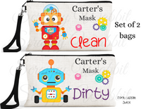 "Accessory/Essential Bag ""Robots"" Clean, Dirty, Kids Mask Bags Set/2"