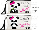 "Accessory/Essential Bag ""Panda Bear"" Clean, Dirty, Kids Mask Bags Set/2"