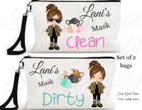 "Accessory/Essential Bag ""Girls Leopard"" Clean, Dirty, Kids Mask Bags Set/2"