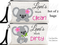 "Accessory/Essential Bag ""Koala Bear"" Clean, Dirty, Kids Mask Bags Set/2"