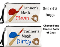 "Accessory/Essential Bag ""Baseball"" Clean, Dirty, Kids Mask Bags Set/2"